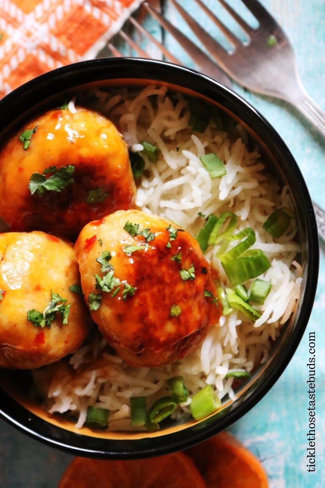 Orange chicken Meatballs with Rice